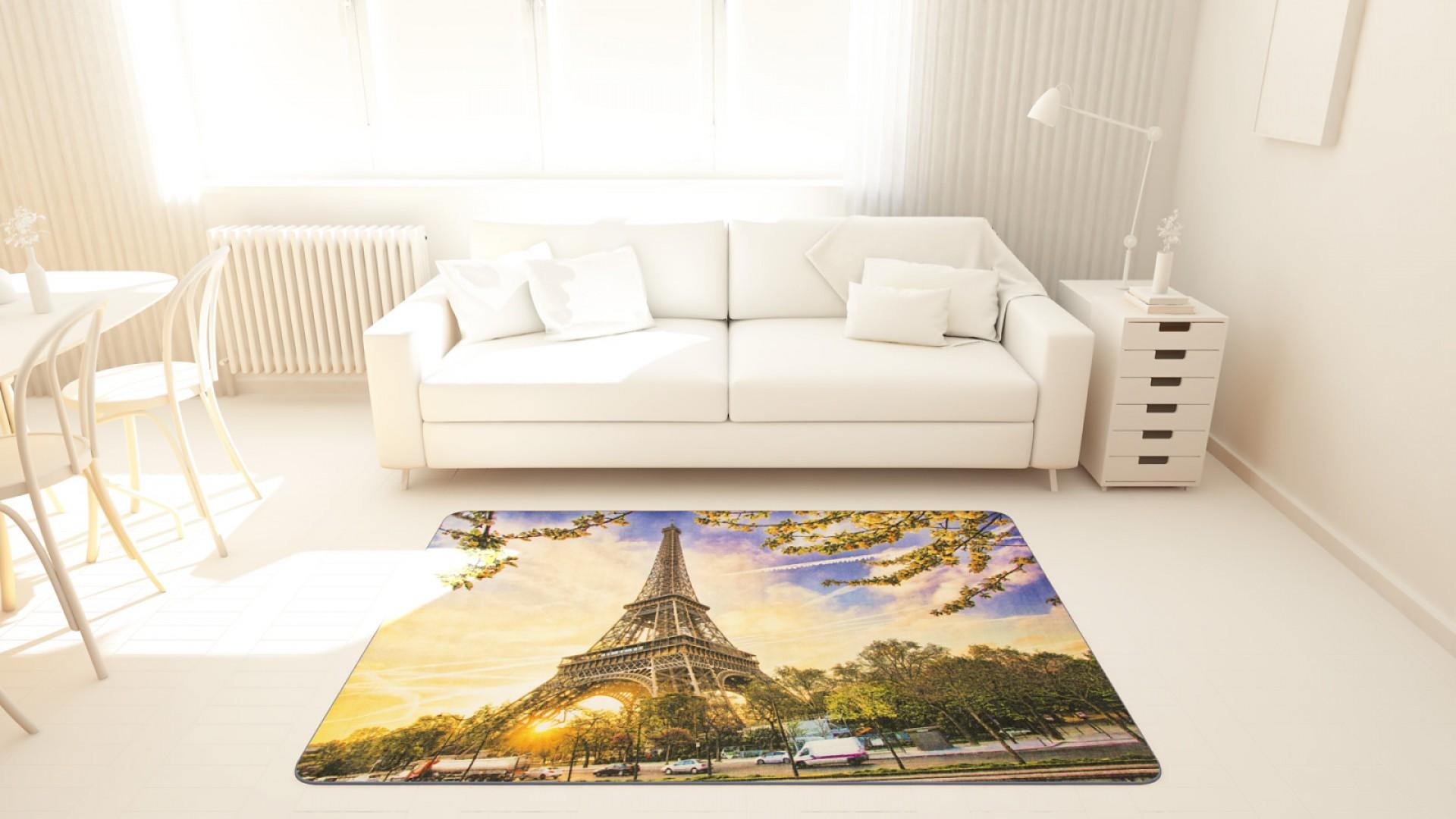 Tapis salon LIGNE PHOTOGRAPHE coucher de soleil bleu DEBONSOL