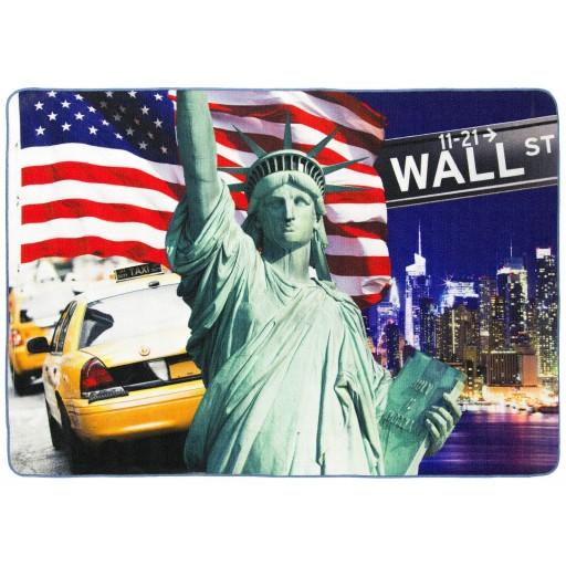 Tapis salon LIGNE PHOTOGRAPHE symboles de NEW YORK bleu DEBONSOL