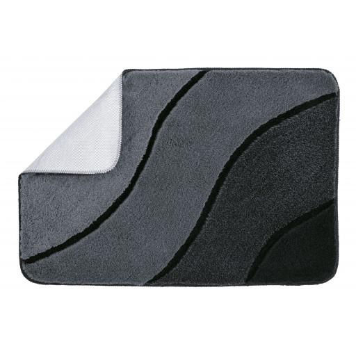 Tapis de bain WAVE gris noir KLEINE WOLKE