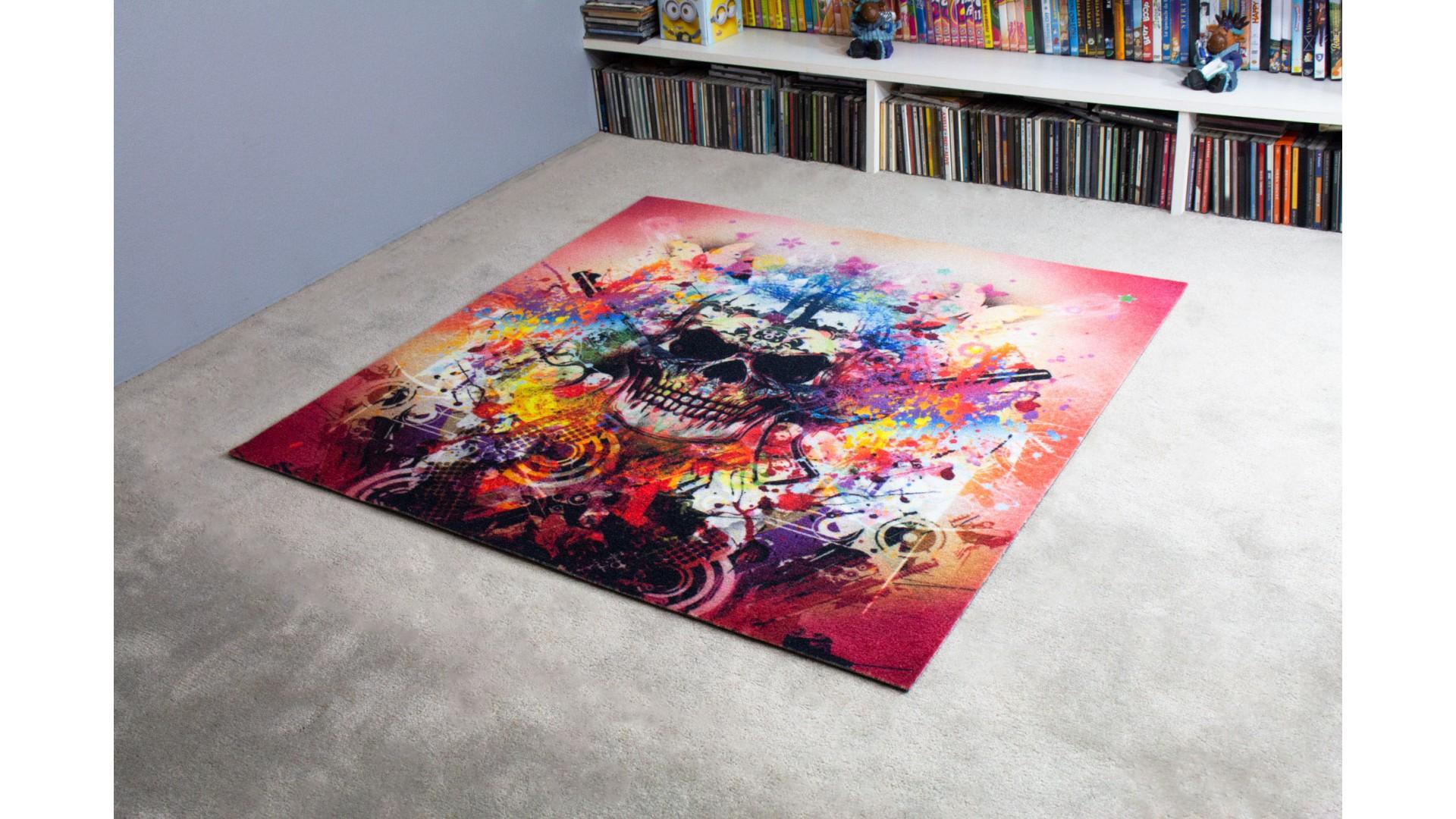 Tapis salon TETE DE MORT STREET ART IMPRIME multicolore DEBONSOL
