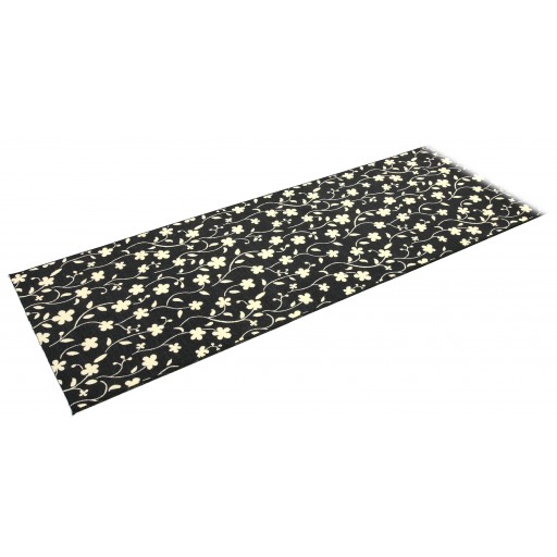 Tapis sur mesure PORTLAND noir fleur DEBONSOL