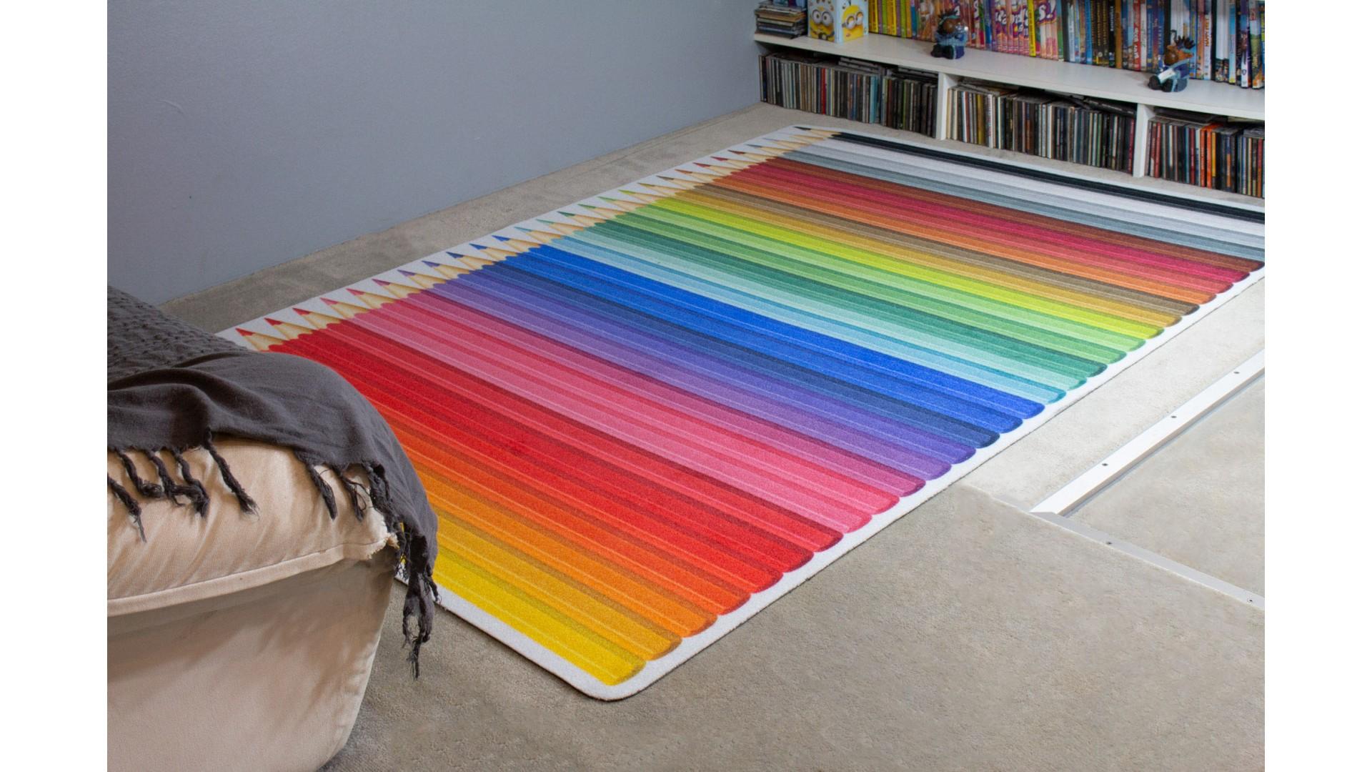 Tapis enfant CRAYONS DE COULEURS IMPRIME multicolore DEBONSOL