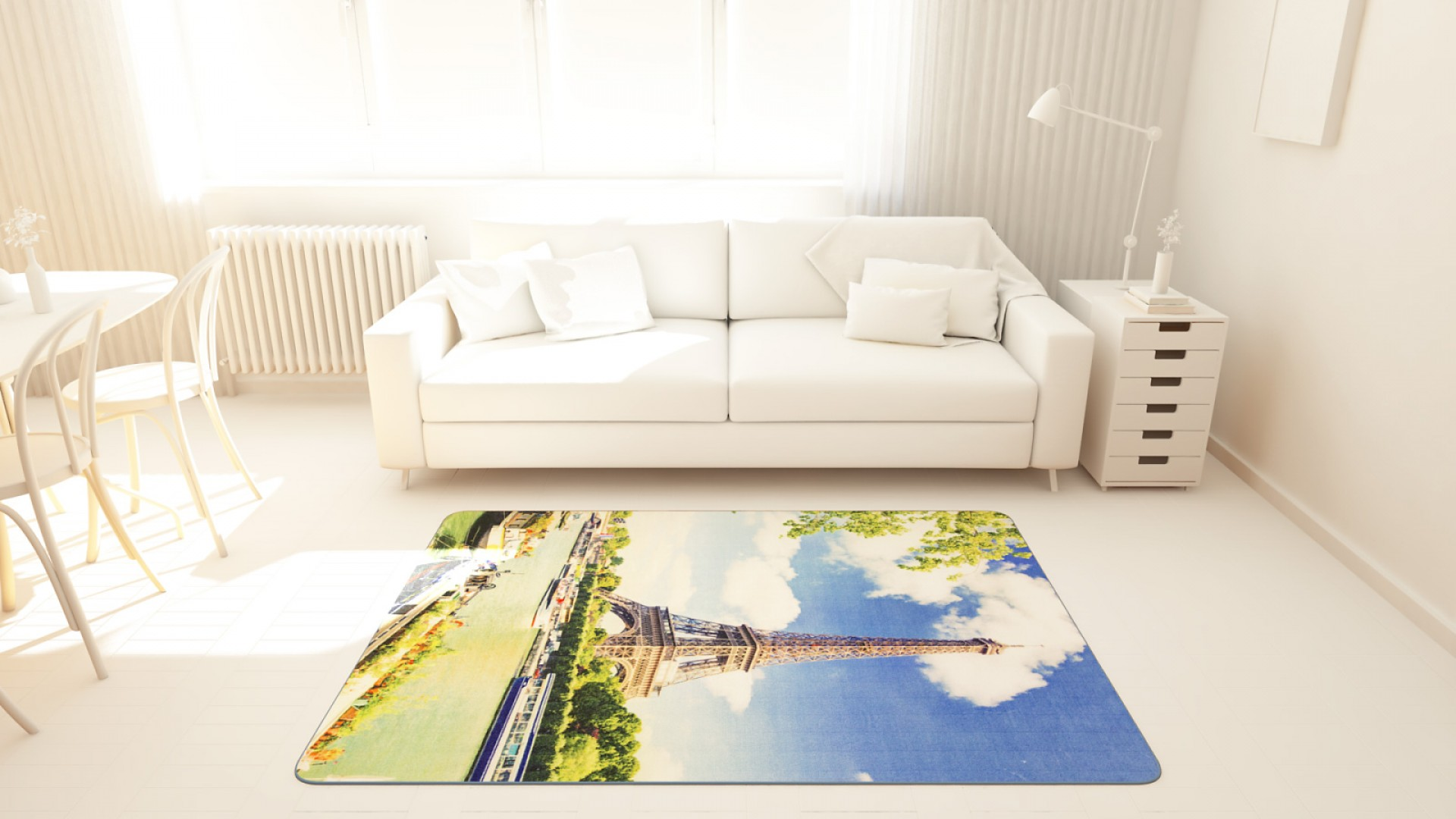 Tapis salon LIGNE PHOTOGRAPHE seine tour eiffel bleu DEBONSOL