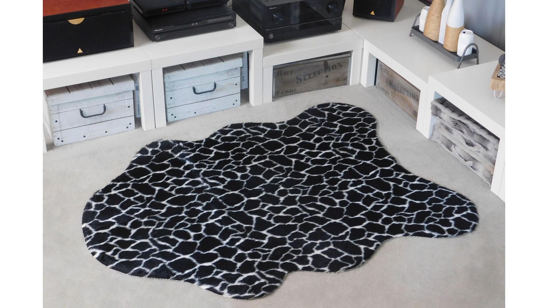 Tapis salon PEAU DE BÊTE girafe noire DEBONSOL