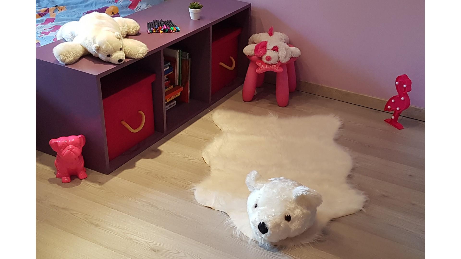 Tapis enfant TÊTE OURS POLAIRE blanc DEBONSOL